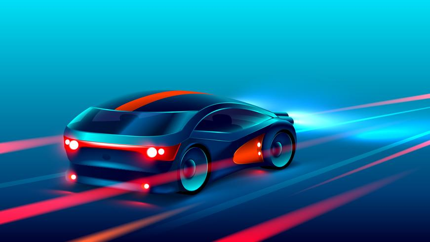 sports car racing on the highway in the night