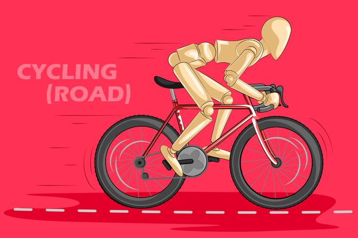 Concetto di ciclismo con manichino umano in legno