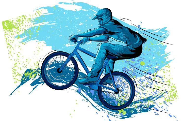 Sportivo in bicicletta con bicicletta e casco