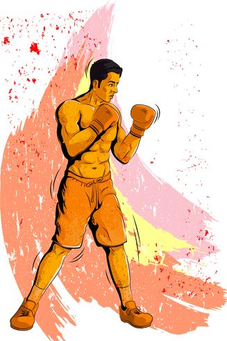 Concept of sportsman playing Boxing