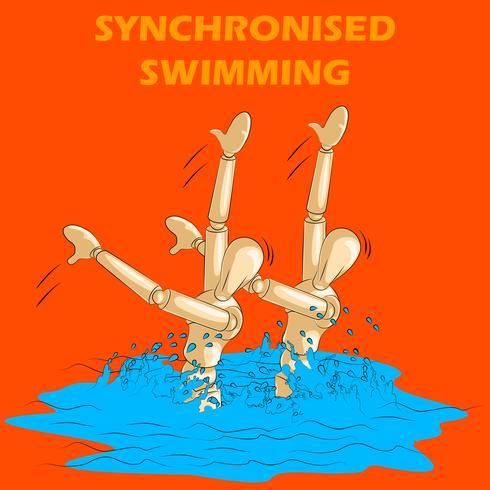 Concetto di sport di nuoto sincronizzato con manichino umano in legno