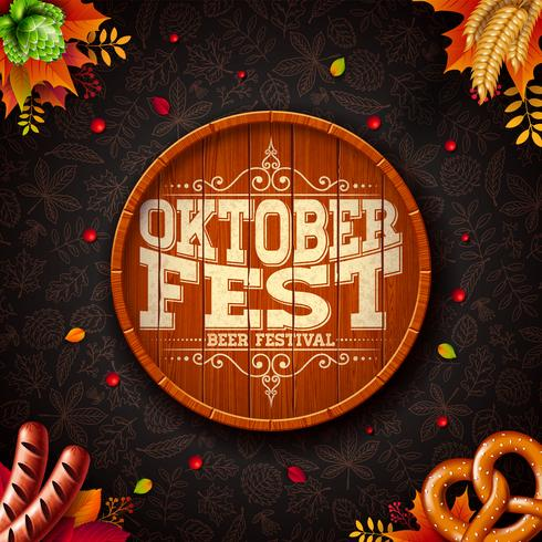 Oktoberfest illustration with typography on beer barrel