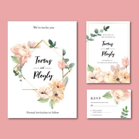 Conjunto de invitación de boda floral geométrica vintage vector