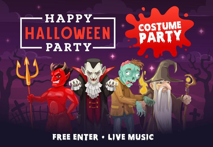 Invitación de fiesta de Halloween con vampiro, zombie, demonio y mago