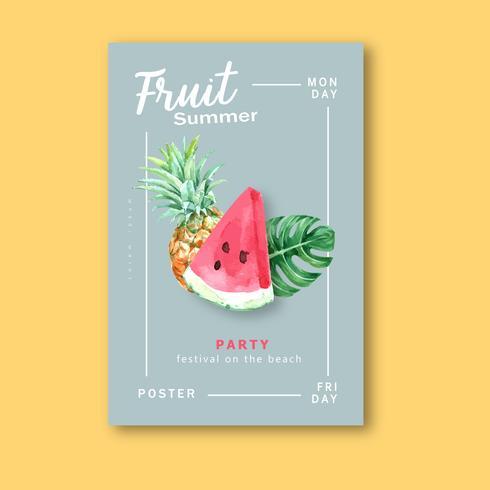 Invitación de fiesta de acuarela de frutas de verano vector