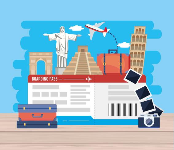Airplane tickets with landmarks with camera  vector