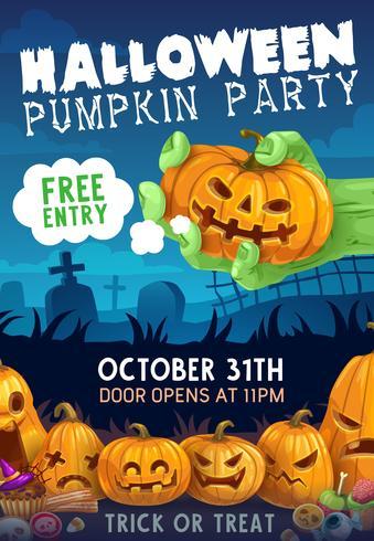 Halloween-Party Einladung mit der Zombiehand, die Kürbis hält