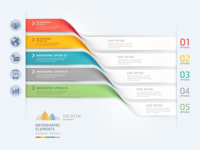Modèle d'éléments d'affaires infographie avec des bannières ondulées en 5 étapes