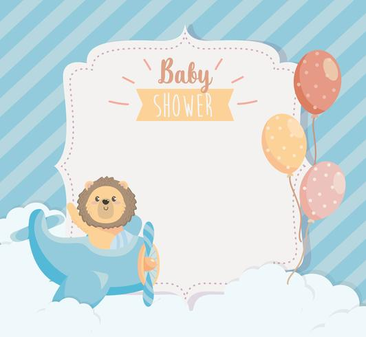 Baby shower card with lion in airplane and balloons