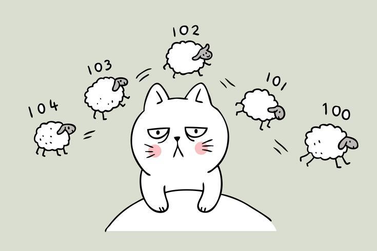 Tecknad gullig katt som räknar får