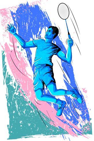Begrepp av idrottsmannen som spelar Badminton