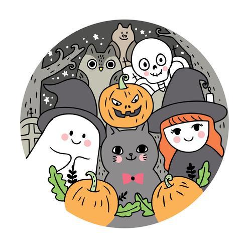 Halloween, fantasma e gatto e strega e scheletro e gufo e pipistrello e zucca