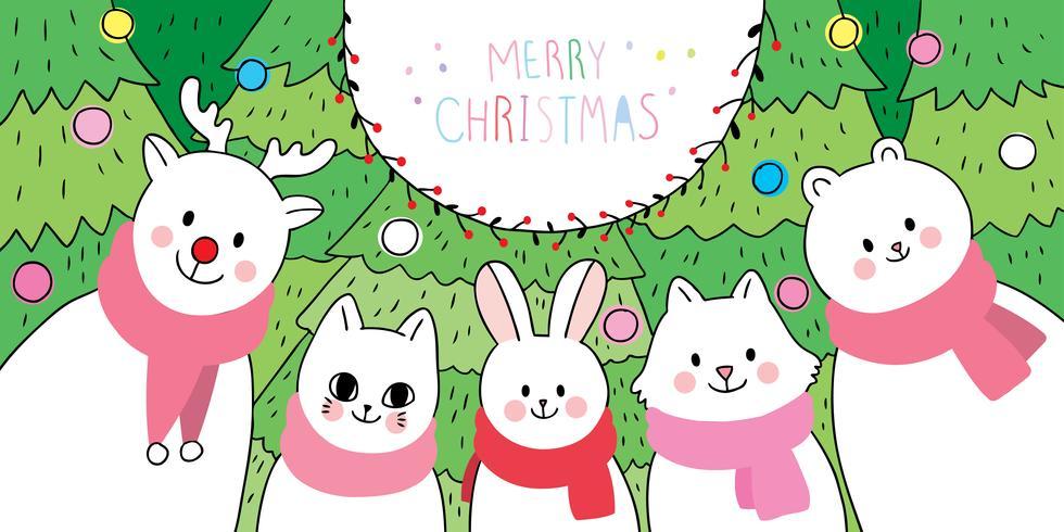 animals and Christmas tree