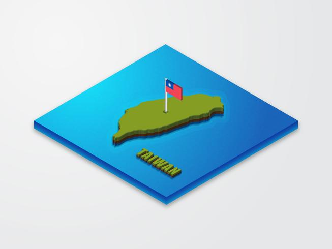 3D Isometric Map Of Taiwan