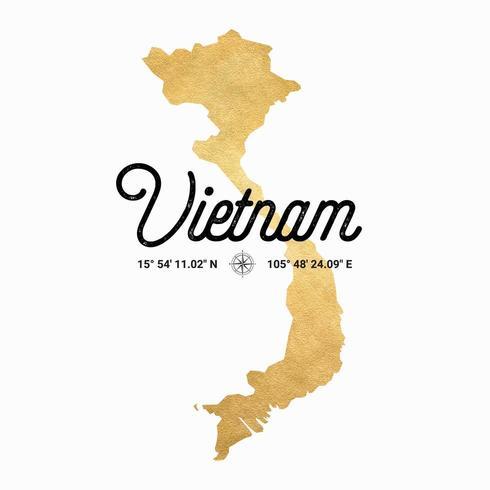 Vector Gouden Silhouetkaart Van Vietnam
