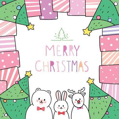Kerstmis, beer en konijn en herten in geschenkframe