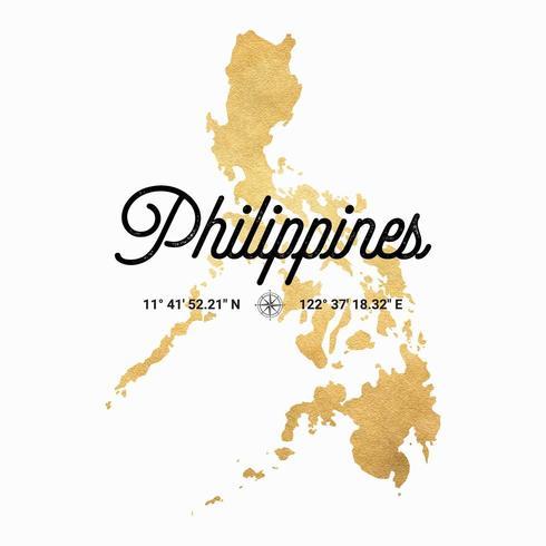 Vektor Gold Silhouette Karte Der Philippinen