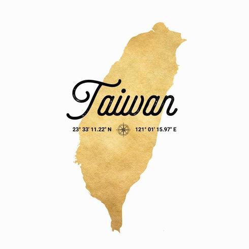 Mapa de silhueta ouro vetor de Taiwan