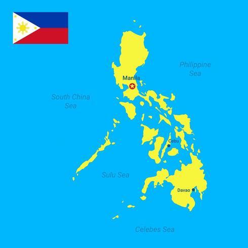 Carte des philippines et vecteur drapeau