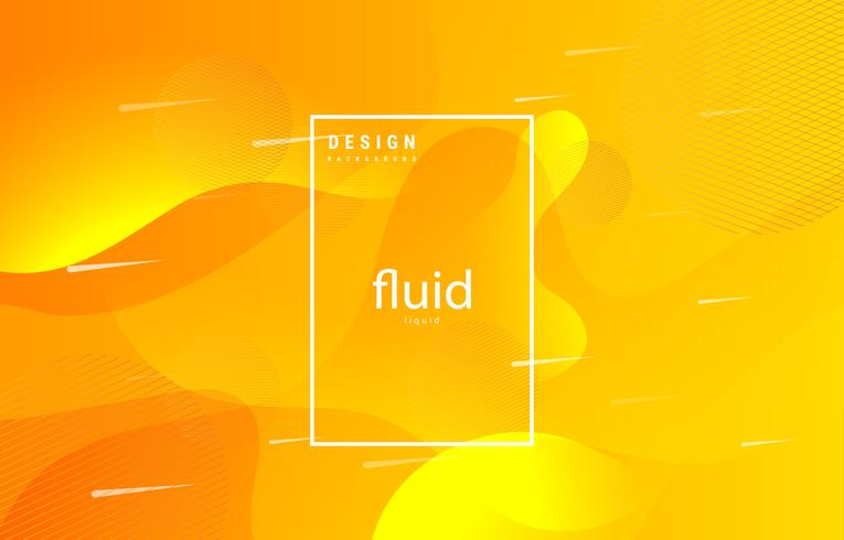 fluid abstract shapes yellow background vector