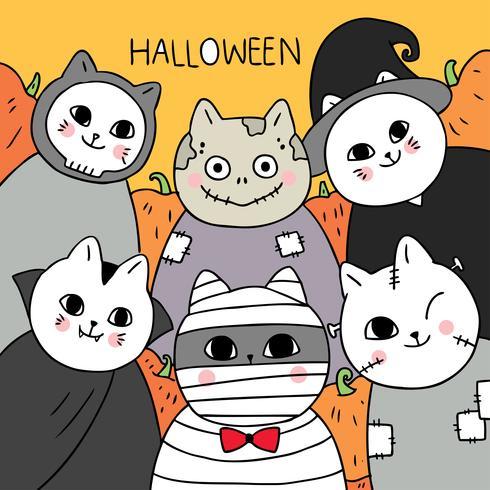 Halloween, momia y vampiro y zombie y gato fantasma vector