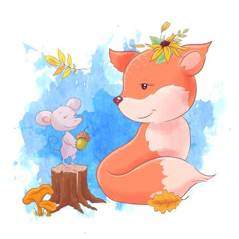 Raposa bonito dos desenhos animados e rato, outono, folhas.