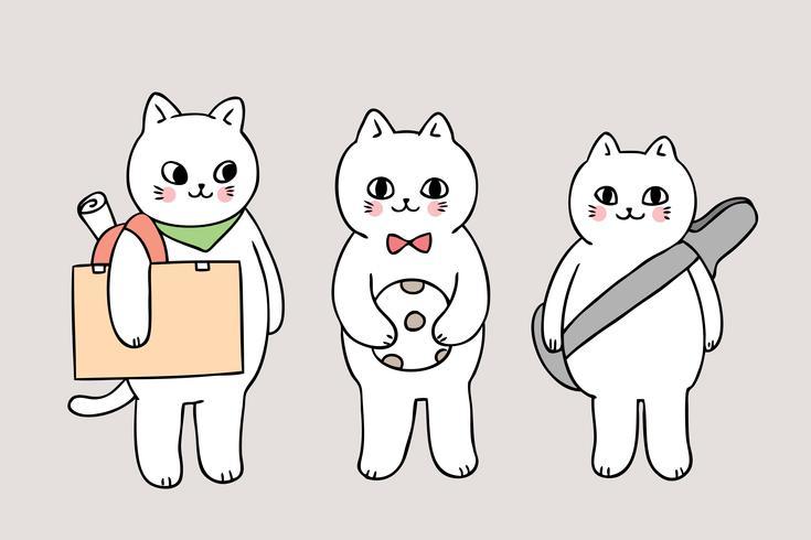 dibujos animados lindo regreso a la escuela gatos sosteniendo artículos escolares