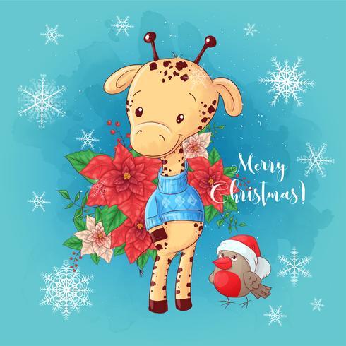 Julkort med tecknad giraffpojke och en bukett julstjärna