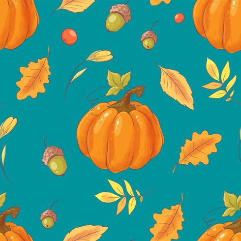 Seamless pattern autumn pumpkin, acorns, leaves and fruits