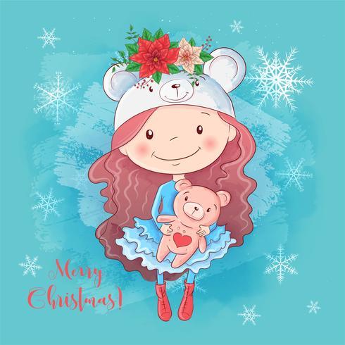 Christmas card with cartoon girl with teddy bear and a bouquet of poinsettia