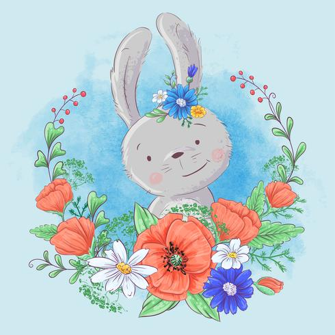Cute cartoon bunny in a wreath of poppies and daisies, wildflowers
