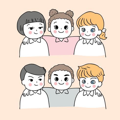 Dibujos animados lindo regreso a la escuela niños y niñas con los brazos alrededor del otro