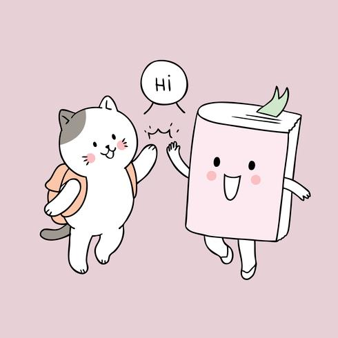 Cartoon cute back to school cat and book high fiving