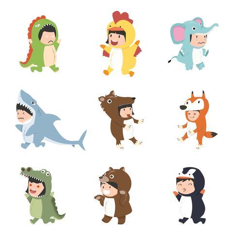 crianças vestindo conjunto de fantasias de animais vetor