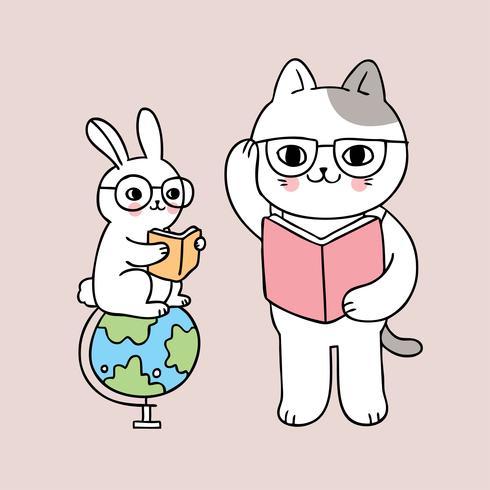livre de lecture pour lapin et le chat à l'école vecteur
