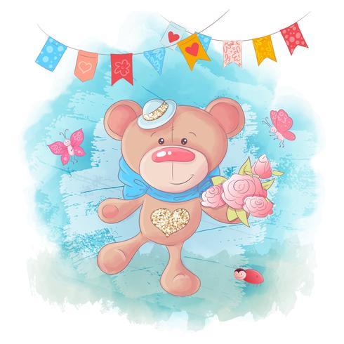 Urso De Peluche Bonito Dos Desenhos Animados Sobre Fundo Azul Download De Vetor