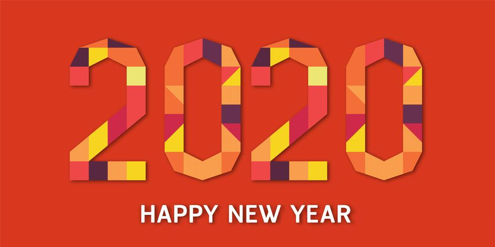 Happy new year 2020, year of the rat in geometric paper cut and craft style. vector