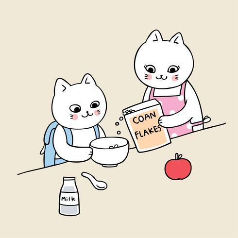 retour à l'école chat manger petit-déjeuner