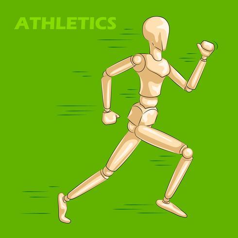 Konzept des Laufens des Athleten mit hölzernem menschlichem Mannequin