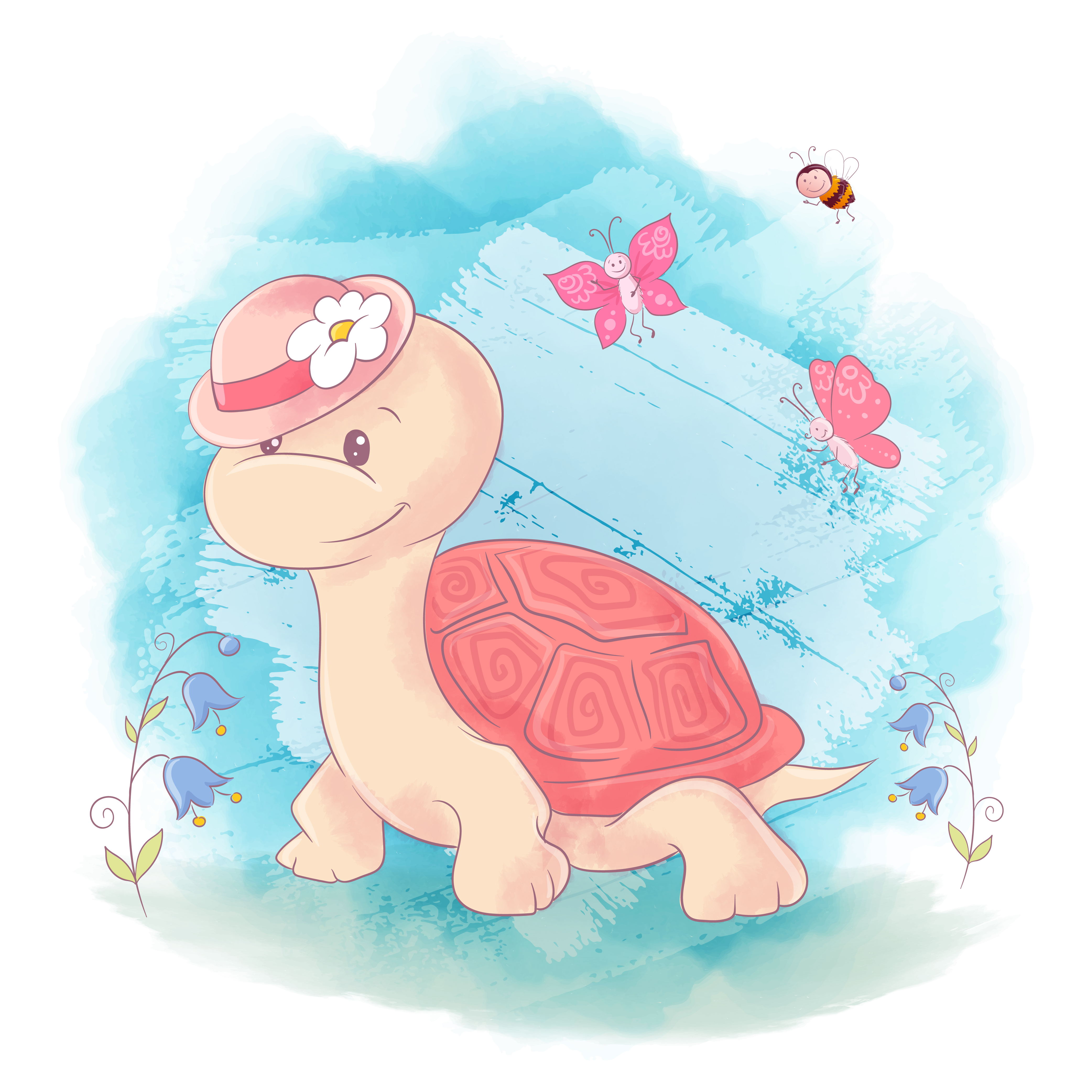 Cute Cartoon Turtle on a blue watercolor background ...