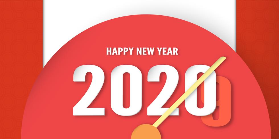 Happy new year 2020 clock design, year of the rat in paper cut and craft style.
