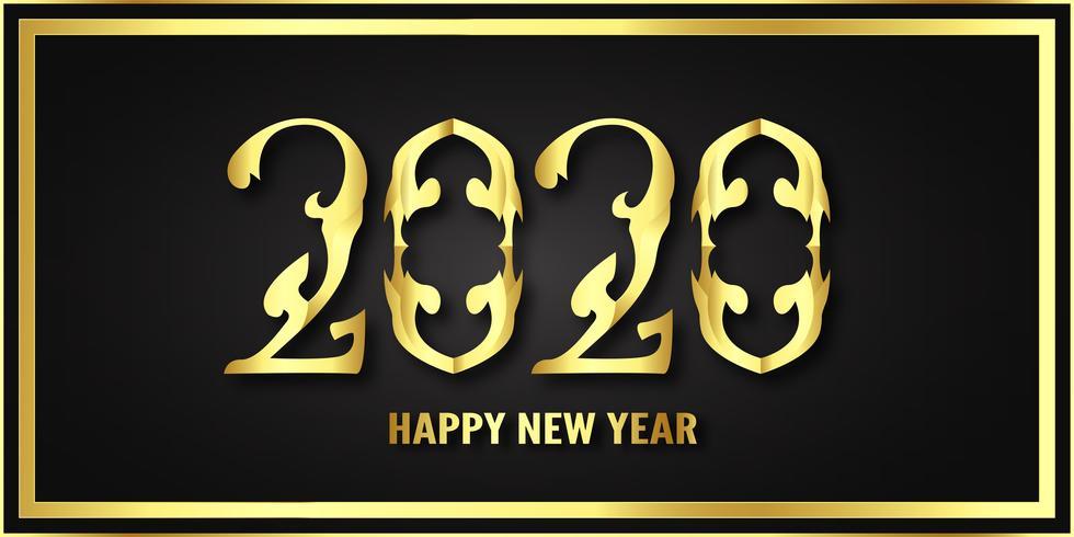 Frohes neues Jahr 2020, Jahr der Ratte im Metallic-Papierschnitt und Bastelstil vektor