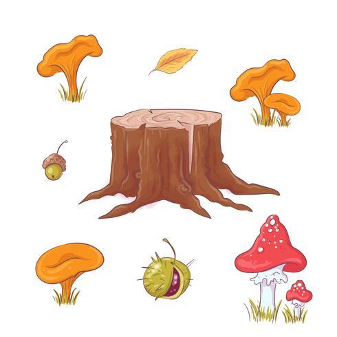 Hand getrokken bosstronk, paddestoelen en bessen en herfstbladeren.
