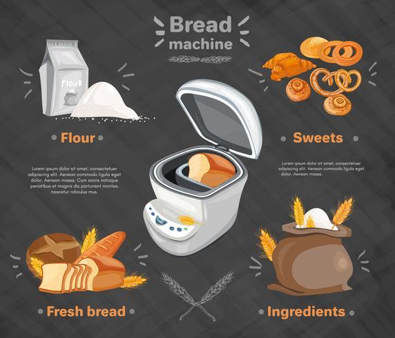 Produtos de panificação com máquina de pão, pães frescos e saco de farinha