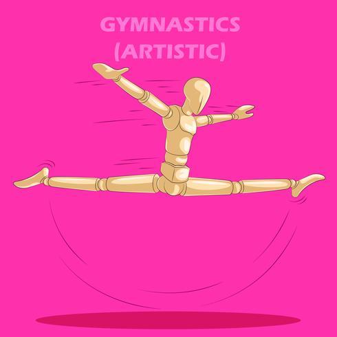 Conceito de ginástica artística com manequim humano de madeira