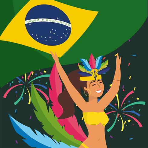 Bailarina de carnaval femenino en traje con bandera brasileña