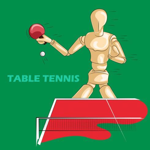 Conceito de esportes de tênis de mesa com manequim humano de madeira