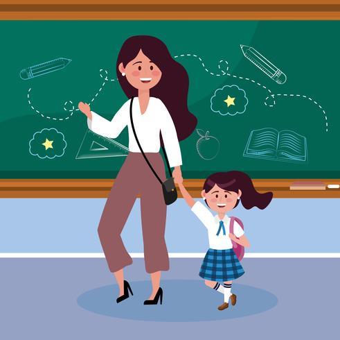 Moder med dottern i klassrummet i skolan