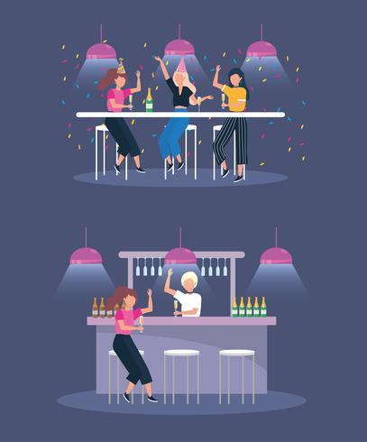 Conjunto de mujeres jóvenes bebiendo en el bar en la fiesta vector