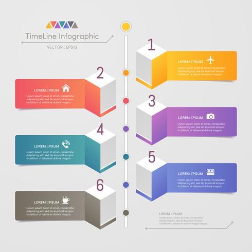 Tijdlijn infographics ontwerpsjabloon met pictogrammen, 6 stappen procesdiagram